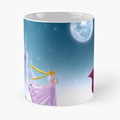 Princesa Selene Stars Princess Miracle Anime Castle Kamen La Mejor Taza de café de cerámica de mármol Blanco de 11 oz