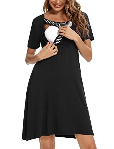 Akalnny Camisón Lactancia con Manga Corta Mujer Vestido de Premamá Algodón Suave Ropa Maternidad de Dormir para Embarazada