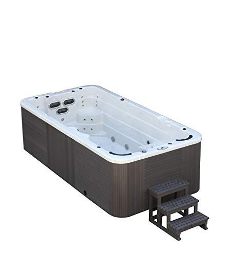 DEKO VERTRIEB BAYERN XXL Led Swim Spa 445x230cm Whirlpool Gegenstromanlage Outdoor Schwimmbad inkl. Spedition