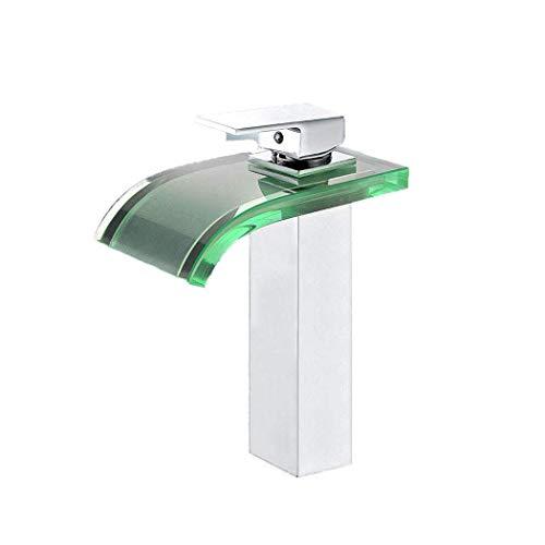 Grifo De Lavabo Baño De Cristal Cascada Con Luz LED Moderna, Grifos...