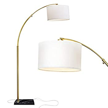 Mid century modern floor lamp with gold and white coloring
