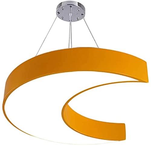 Lámpara de Techo LED Araña Sencilla Lámparas Personalizadas LED Lámparas Creativas Kindergarten Araña Decorativa Naranja/Azul Forma de Luna Simple Lámpara de Techo Moderna (Color : Orange)