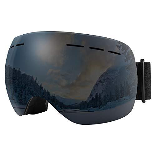 BFULL Skibrille Für Damen und Herren Kids Brillenträger Skibrille 100% OTG UV400 Anti-Fog UV-Schutz Skibrillen Snowboard Skibrille Schutz Ski Goggles (Black Lens VLT 5%)