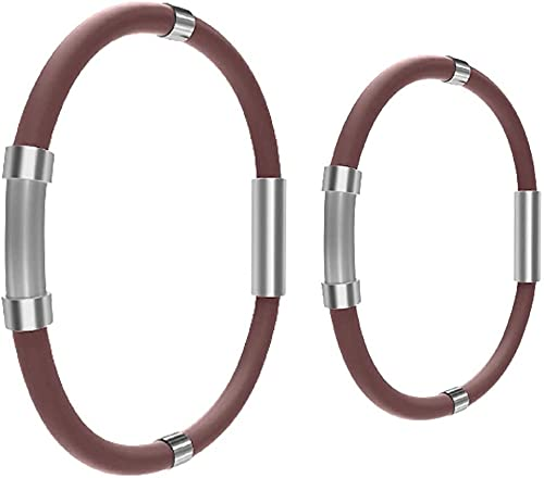 SKLU Pulsera de equilibrio de iones atléticas, pulsera de moda de bienestar energizado, pulsera de iones negativos, pulsera de silicona antiestática (2 unidades, marrón)