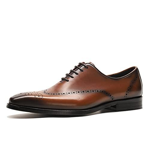 PANFU Vintage Cuero Genuino de 5 Ojos con Cordones de 5 Ojos, Zapatos de Vestido Brogue Oxford para Hombres Wingtips de Punta Cuadrada Bloque de Tacón Sólido Color Oxfords