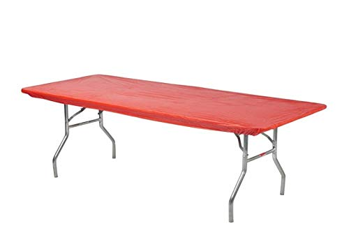 Kwik-Covers 6' Rectangular Plastic Table Covers 30' x 72' (6 Feet), Bundle of 10 - Indoor or Outdoor Fitted Table Covers for Banquet Tables (Red)
