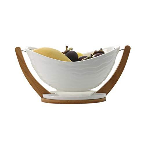 Home Fruit Bowl Bamboo Tray Home Restaurant Drain Fruit Basket Set Ingot Leisure Fruit Plate with Base Storage Basket Fruit Basket (Color : White)