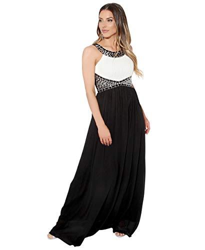 KRISP Vestido Largo Fiesta Ceremonia Elegante, Blanco/Negro (5274), 44, 5274-WHTBLK-16