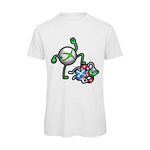Boostit Tshirt Divertente Videogames Xbox vs PS4 (S, Bianco)