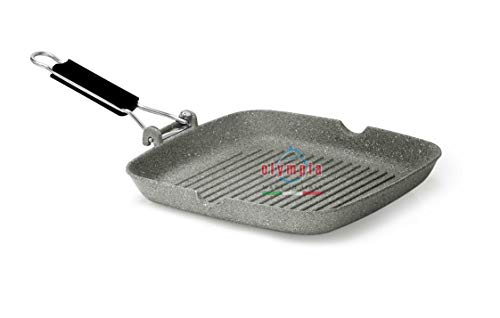 Olympia Rocker 11 x 11 Inch Square Non-Stick PFOA-Free Die-Cast Aluminum Grill Pan With Foldable Handle, Made in Italy
