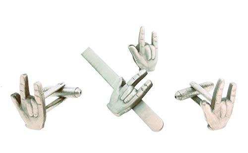gemelolandia   Pack Gemelos de Camisa Pasador de corbata y Pin de Solapa Saludo Heavy Metal Gemelos Originales Para Camisas   Para Hombres y Niños   Regalos Para Bodas, Comuniones y Otros Eventos