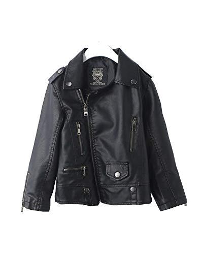 Kinder PU Lederjacke Jungen Mädchen Langarm Mantel Biker Schwarz Leder Zipper Jacke