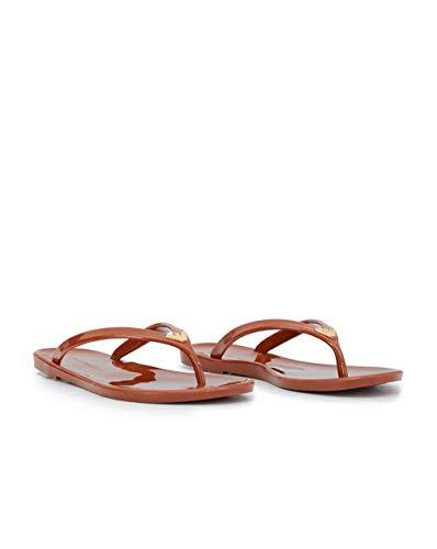 Emporio Armani Damen Badesandalen - Slipper, Flip Flops, einfarbig (37 EU, braun)