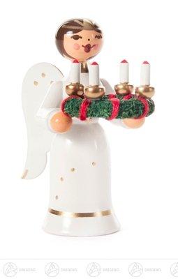 Engel Miniatur mit Adventskranz Höhe ca 6,5 cm NEU Erzgebirge Weihnachtsfigur Holzfigur