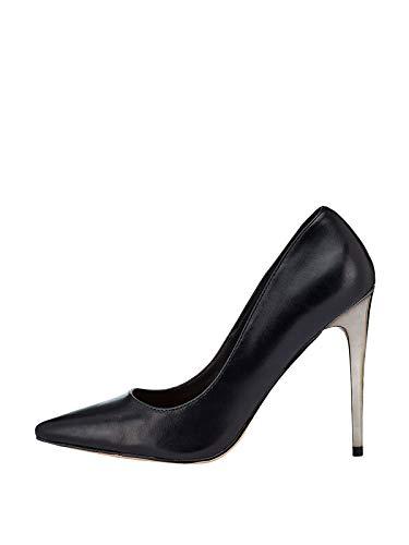 Marypaz, Zapato de salón con tacón de Aguja Metalizado para Mujer Negro 38 EU