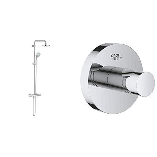 Grohe New Tempesta Cosmopolitan 160 - Sistema de ducha con termostato incorporado (Ref. 27922000) + Grohe Essentials - Colgador de albornoz, fijación empotrada (Ref. 40364001)