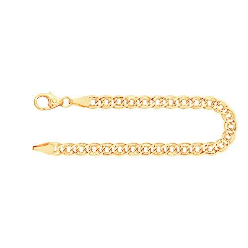 Feines Armband Damen Herren Echt Gold 3.5 mm, Zwillingspanzerkette aus 333 Gelbgold, Goldarmband mit Stempel und Karabinerverschluss mit Schlaufe, Länge 21 cm, Gewicht ca. 2 g, Made in Germany