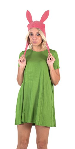 Bob's Burgers Louise Hat with Green Dress Costume Set(Medium)