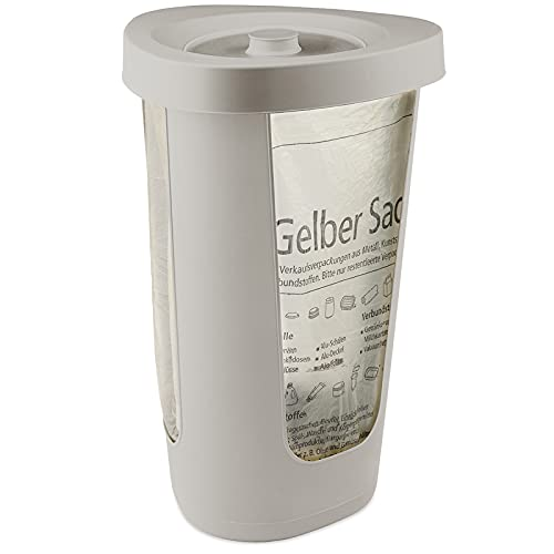 Rotho Fabu Müllsackständer gelber Sack mit Deckel, Kunststoff (PP recycelt), Cappuccino, 40 cm