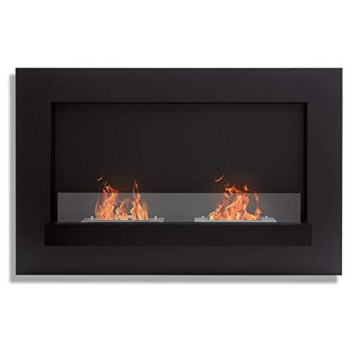 Wikao Delia XL – Negro, chimeneas y estufas etanol de pared (estufa biológica, pared)