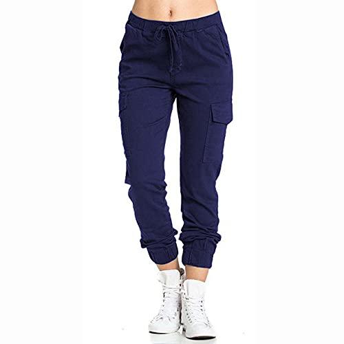 WJANYHN Pantalones de Mujer, Ropa de Trabajo, Cintura elástica Informal, Pantalones con Bolsillos Laterales, Pantalones de Mujer