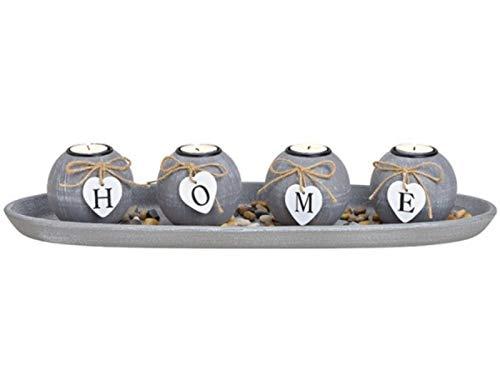 meindekoartikel Deko Tablett mit 4 Teelichthalter - Home mit Steinen aus MDF (grau) Breite 50cm x Höhe 10cm x Tiefe 18cm – Kerzenhalter Kerzenständer