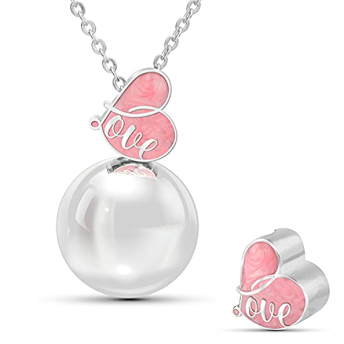 Lovemycocca Collar llamador de ángeles de embarazo con colgante de amor para las futuras mamás, llamador de ángeles de collar largo para mujer, ideal como regalo para madre Rosa