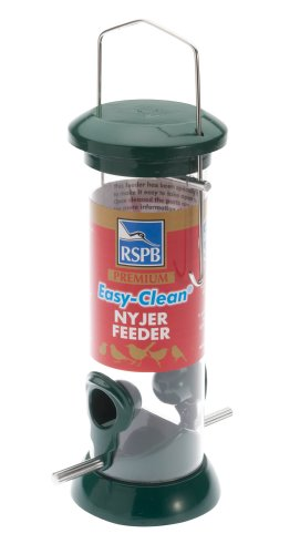 RSPB Premium Hanging Nyjer Seed Feeder, Easy Clean, Aluminium, 9-inch, bird seed niger feeder. supporting RSPB charity. Wild bird, for use in gardens & outdoors pouches