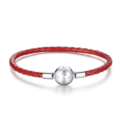 Elnker Pulsera de Encanto de Cuerda de Cuero Rojo de Plata esterlina Genuina 925 para Mujer