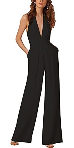 Minetom Donne Elegante Collo V Senza Maniche Jumpsuit Playsuit Moda Pantaloni Gamba Larga Sciolto Tuta Pagliaccetti Monopezzi Nero IT 42