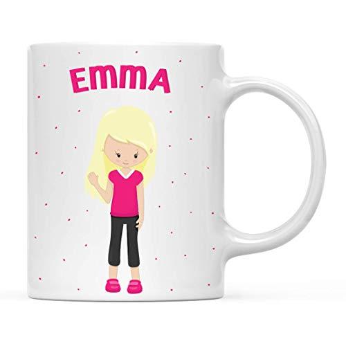 Personalizado 11oz. Taza de chocolate caliente con leche para niños, chica de...