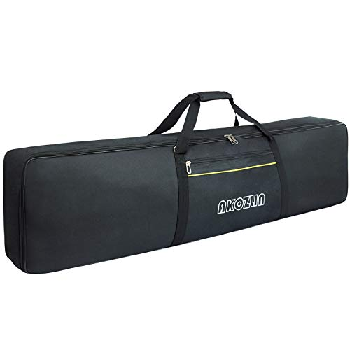 AKOZLIN 88 Keys Portable Padded Keyboard Case,Dimension 54.1'x6.69'x13.18', Electric Piano Keyboard Gig Bag (Black+Yellow)