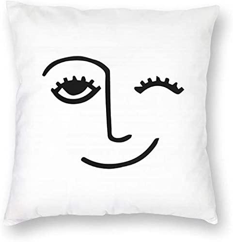 HESMENO Winky - Funda de almohada decorativa para decoración del hogar, cuadrada, 45,7 x 45,7 cm