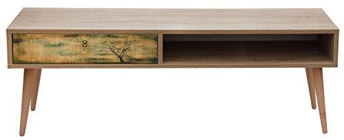 Homemania Mobile Porta TV Art, Bois, Chêne-Multicolore, 130x36x47 cm