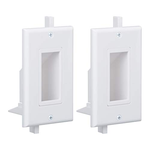 Wi4You Recessed Wall Plate 2 Pack Decotive Cable Wall Plate with Fly Mounting Wings Bottom Opening for Low Voltage Cable Pass Through WI1009-2