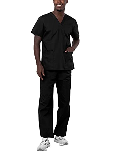Adar Universal Unisex Pflegebekleidung - Unisex Set mit Kordelzug - 701 - Black - XXS