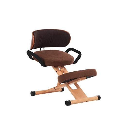 Adjustable Kneeling Chair, Ergonomic Working Stool with Back and Handle Cushion Office Home-Wood & Linen Cushion Knee Posture Chair- Ideal for Neck, Spine, Back Problems (Color : Brown)