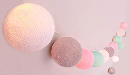 CREATIVECOTTON LED Lichterkette mit Cotton Balls inkl. Timer und Dimmer (Butterfly, 20 Kugeln)