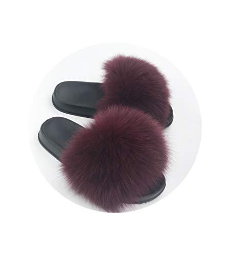Slippers Women Sliders Casual Fox Hair Flat Fluffy Fashion Home Summer Big Size 45 Furry Flip Flops Shoes,16,131