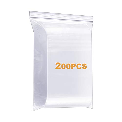 """200 Pack 1"""" x 1"""" Durable Small Thick Clear Zip Poly Seal Lock Bags Heavy Duty 4 Mil Reclosable Plastic Zip Bag Jewelry Earrings Necklace Ring Coin Beads Pill Zipper Bags"""