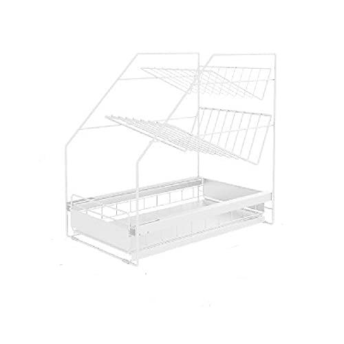 Küchen-Waschbecken-Regal-Speicher-Regal-Schrank Lagerregner Multi-Layer-Ziehen Sie das Badezimmer-Waschbecken Lagerregal heraus,White