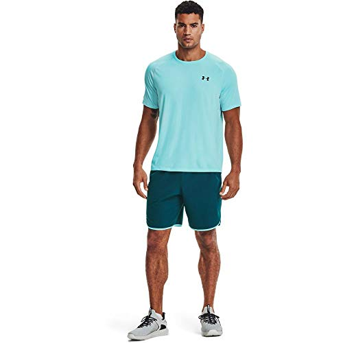 Under Armour Camiseta Deportiva Transpirable de Manga Corta Tech 2.0 para Hombre, Hombre, 1326413-441, Breeze/Black, Large