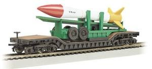 Bachmann Industries Inc. 52' Center-Depressed Flat-Car Desert Military with Missile - N Scale