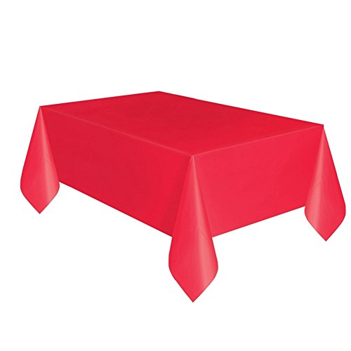 Red Plastic Tablecloth, 108' x 54'