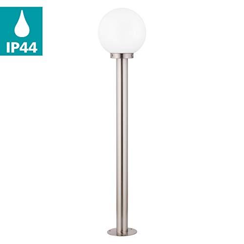 EGLO Außen-Stehlampe Nisia, 1 flammige Außenleuchte, Stehleuchte aus Edelstahl und Glas, Farbe: Silber, weiß, Fassung: E27, IP44