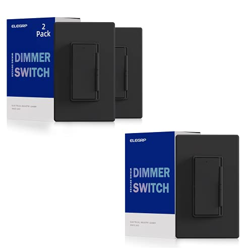 ELEGRP Digital Dimmer Light Switch for 300W Dimmable LED/CFL Lights 1 Pack with 2 Pack