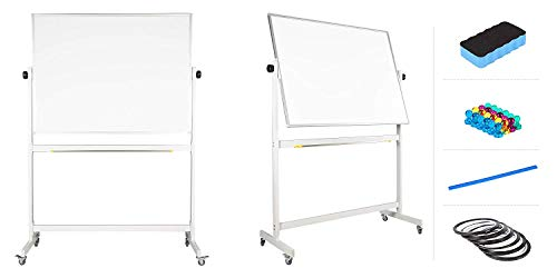 """flybold Mobile Whiteboard 48"""" x 36"""" inch Magnetic Double Sided Flip Over Dry Erase Reversible Portable Home Office Classroom Board with Magnetic Eraser Ruler 12 Push Pin Magnets 2 Gridding Tapes"""