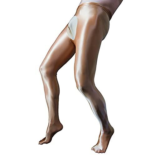CHICTRY Herren Ice Silk Leggings Durchsichtig Strumpfhosen mit Pennishülle Elastische Pants Lange Tight Hose Unterhose Pantyhose Nachtwäsche in 4 Farbe Coffee OneSize