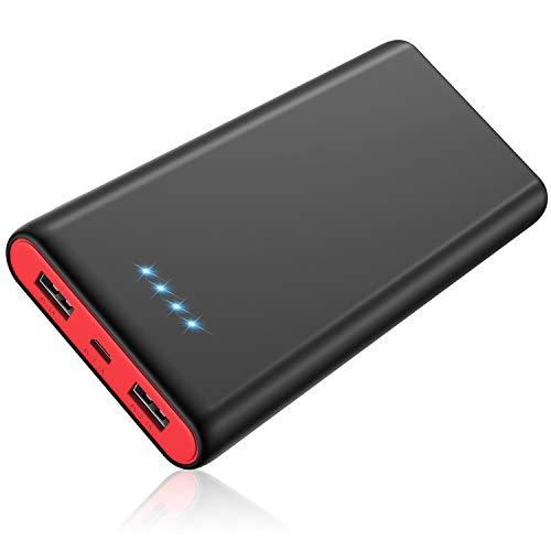 モバイルバッテリー 大容量 【PSE認証済 急速充電】 2USB出力ポート 残量表示 携帯充電器 Android/その他のスマホ/タブレット対応 黒赤