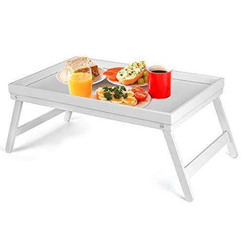 Vencier Bamboo Bed Tray, Folding Legs, Raised Edge, for Breakfast in Bed and Serving, HWD: 22x64x31cm, White (White)